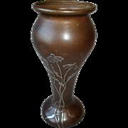 SOLD Vintage Heintz Sterling on Bronze Vase