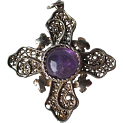 Great Sterling Silver and Amethyst Filigree Cross Pendant