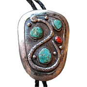 "Amazing Heavy Silver and Turquoise ""Snake"" Bolo Tie"