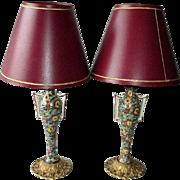 SOLD Gorgeous Pair Chintz Porcelain Boudoir Lamps