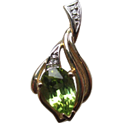 Gorgeous 14k Gold and Peridot Pendand with Diamond Accents