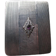 SOLD Sterling Silver Birks Compact Embellished with Amethyst