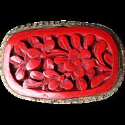 Beautiful Vintage Cinnabar Pin - Marked "China"