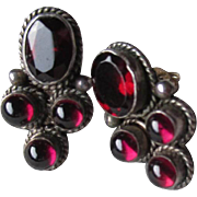 Gorgeous Set of Sterling Silver and Garnet Earrings