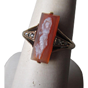 Exquisite 10k Gold Full Figure Shell Cameo Ring