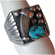 Huge Mens Turquoise with Bear Claw Ring