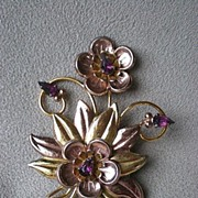 Gorgeous Gold Filled Sterling Floral Pin w/ Amethyst