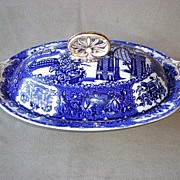 Gorgeous Copelands Blue Transfer Covered Casserole for Tiffany