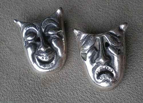 Wonderful Pair Mexican Sterling Drama Pins
