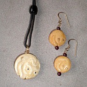 "Fabulous Carved Bone ""Cat"" Necklace / Earrings"