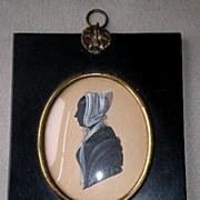 Marvelous 19th Century Miniature Silhouette Portrait - Woman