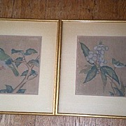 Pair of Gorgeous Hand Painted Bird Pictures on Silk