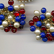 CASTLECLIFF Glass Bead & Faux Pearl Wow Clip Earrings