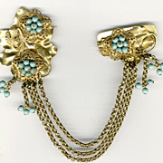 LARGE Double Pin of Goldtone Chain & Blue Beads