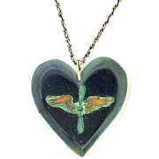 Army Air Corps Air Force Lucite Heart Vintage Necklace w/ Insignia