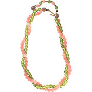 Vintage 17 1/2 Inch Pink and Green Glass Bead Necklace