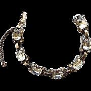 Vintage Eisenberg Original Sterling 1940s Clear Rhinestone Bracelet. HTF