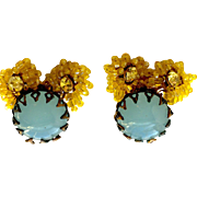 Vintage Miriam Haskell Blue Glass and Yellow Glass Bead Earrings