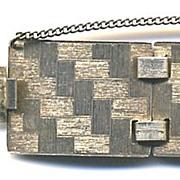 """STERLING Napier Vermeil Textured Modernist 1"""" Wide Bracelet"""