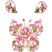 Regency Pink and Green Rhinestone Butterfly Pin and Earrings