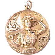 Scarce Art Nouveau Woman Golfer Gold Filled Locket