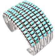 Zuni Six Row Turquoise and Sterling Cuff Bracelet