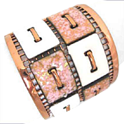 Matisse Renoir Tapestry Copper Enamel Cuff Bracelet in White & Pink