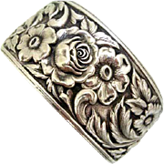 S. Kirk & Sons Large Sterling Repousse Floral Roses Cuff Bracelet