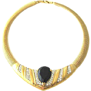 SALE D'Orlan Fabulous Gold-Tone Black Glass Rhinestone Necklace