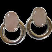 Glass Rose Quartz Cabochon Pierced Silver Tone Earring