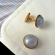 Round Faux Moonstone Grey Blue Cufflinks Cuff Links