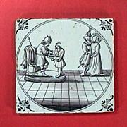 c1720 English Manganese Purple Biblical Delft Tile with Pontius Pilate and Jesus (Matthew 27:24)