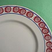 SALE c1890 English Ironstone Stick Spatter Cut Sponge Red Bulls-eye Plate