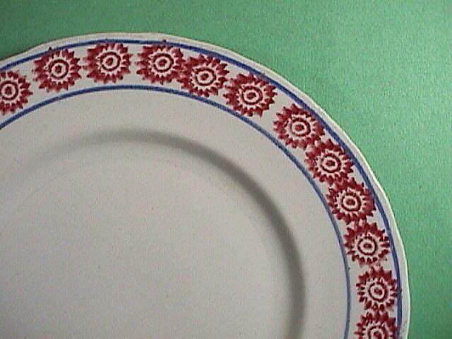 c1890 English Ironstone Stick Spatter Cut Sponge Red Bulls-eye Plate