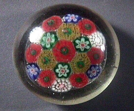 Concentric Millefiori Glass Paperweight with concave ground pontil (age unclear)