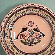 European 20th Century Slip Decorated and Sgraffito Redware Large Bowl