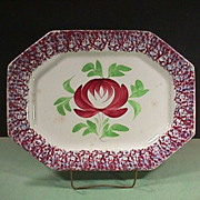SALE c1840  Red and Light Blue Spatterware 15+ inch Platter with Adams Rose