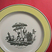 SALE c1820 Creil Creamware Plate with yellow rim and print of Fable #8 (The Man ...
