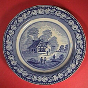 c1825 Blue printed English pearlware plate with rural cottage scene