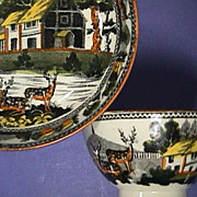 SOLD c1815 Fallow Deer Pearlware Cup and Saucer with Pratt-style color highlights