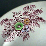 c1840 Cranberry Red Willow Feather and Flowers Stone China Plate by Wm Ridgway