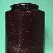 SALE c1820 American hand thrown redware storage jar with dark manganese glaze
