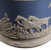 SALE c1830 Late transitional Creamware blue ground Mug with white sprigged Hunting Scene