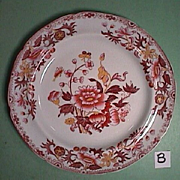 c1822 Spode Stone China printed and hand colored Plate (near perfect, two available)