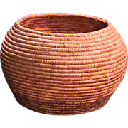 SALE Early 1900s Native North American Coiled Grass Basket (10 inch diam.)