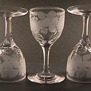 Late 1800s Hand blown, engraved and cut stem small Wine Glass (four remaining)