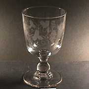 SALE c1830 Hand Blown & Wheel Engraved Glass Goblet on Baluster Stem (two available)