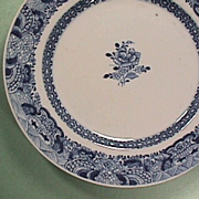 Late 1700s Chinese Export Porcelain Blue and White Plate (late Qianlong; small original staple repair)