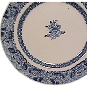SALE Late 1700s Chinese Export Porcelain Blue and White Plate (late Qianlong; small original .
