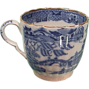 SALE c1800 Pearlware Coffee Cup with Chinese Riverscape, Willow tree, Temples, Bridges, Rocks